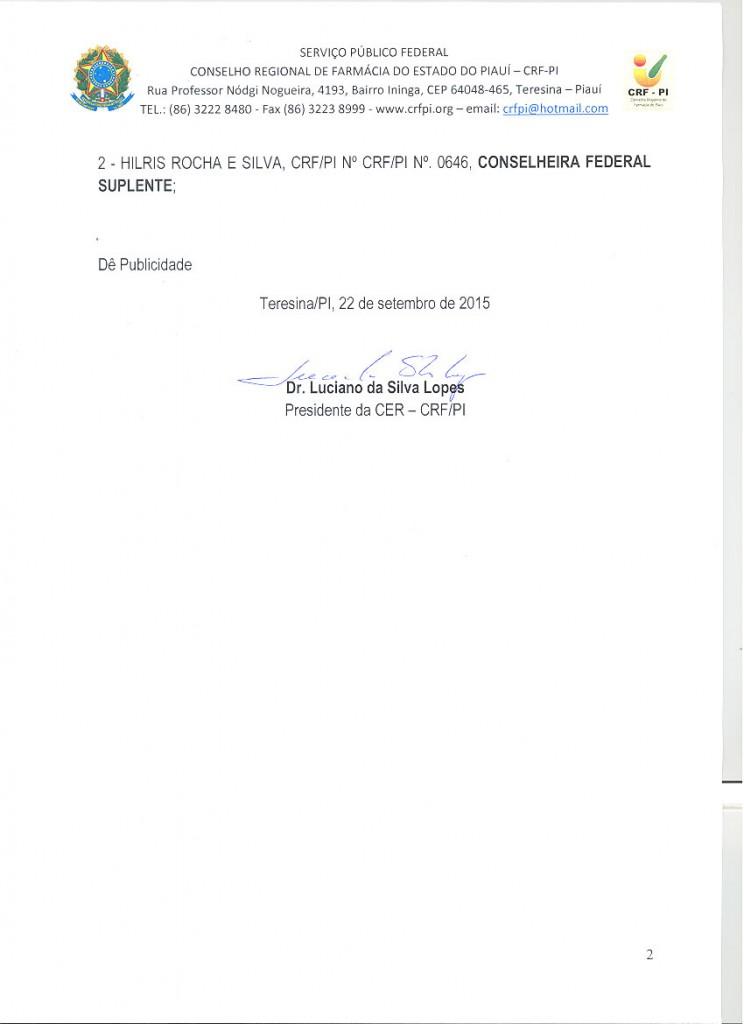Ato de Deferimento de Candidatura - Cons Federal - Chapa 2 - 02
